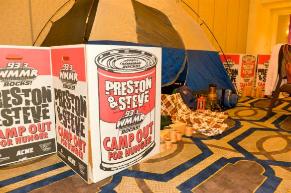 Attendees were asked to bring perishable goods to the event to support Preston and Steve's Camp Out for Hunger cause.